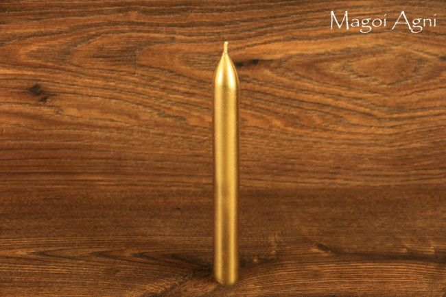 Świeca z wosku 16x1,5cm - złota