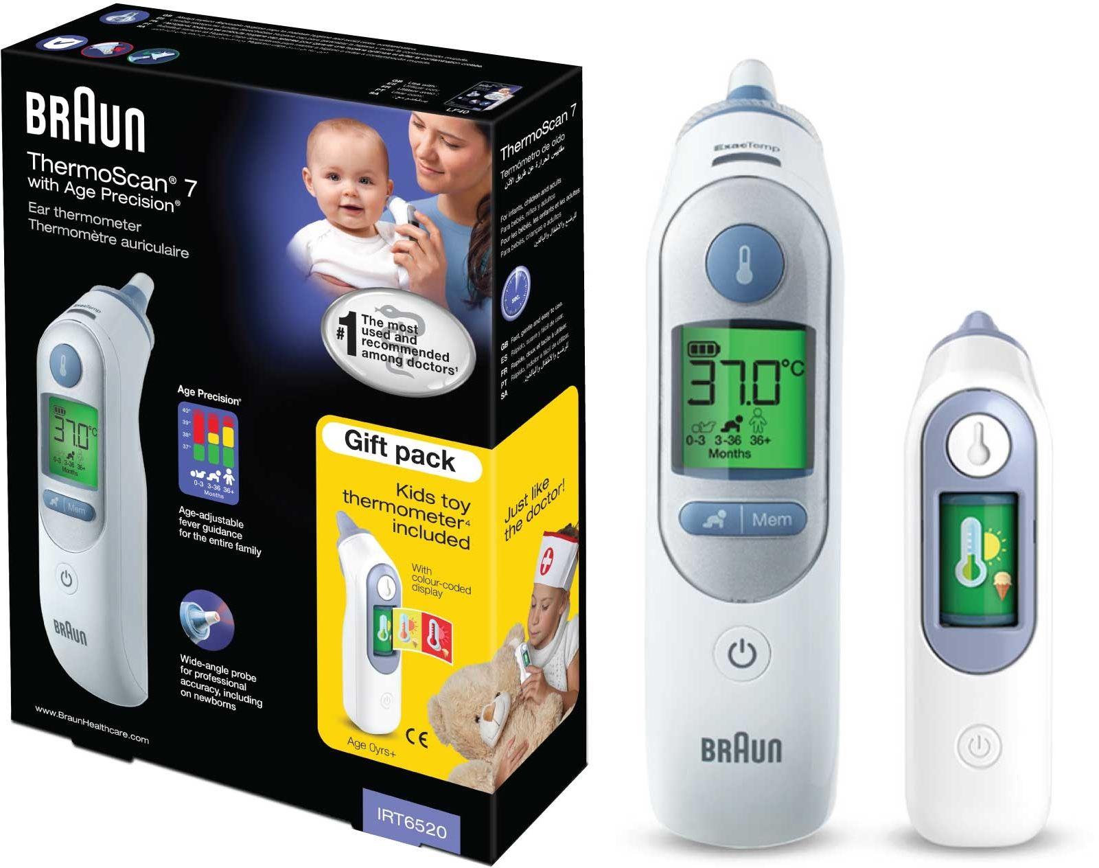 Braun IRT6520 Thermoscan 7 + zabawka /opk. 6 szt Termometr do ucha + zabawka /opk. 6 szt