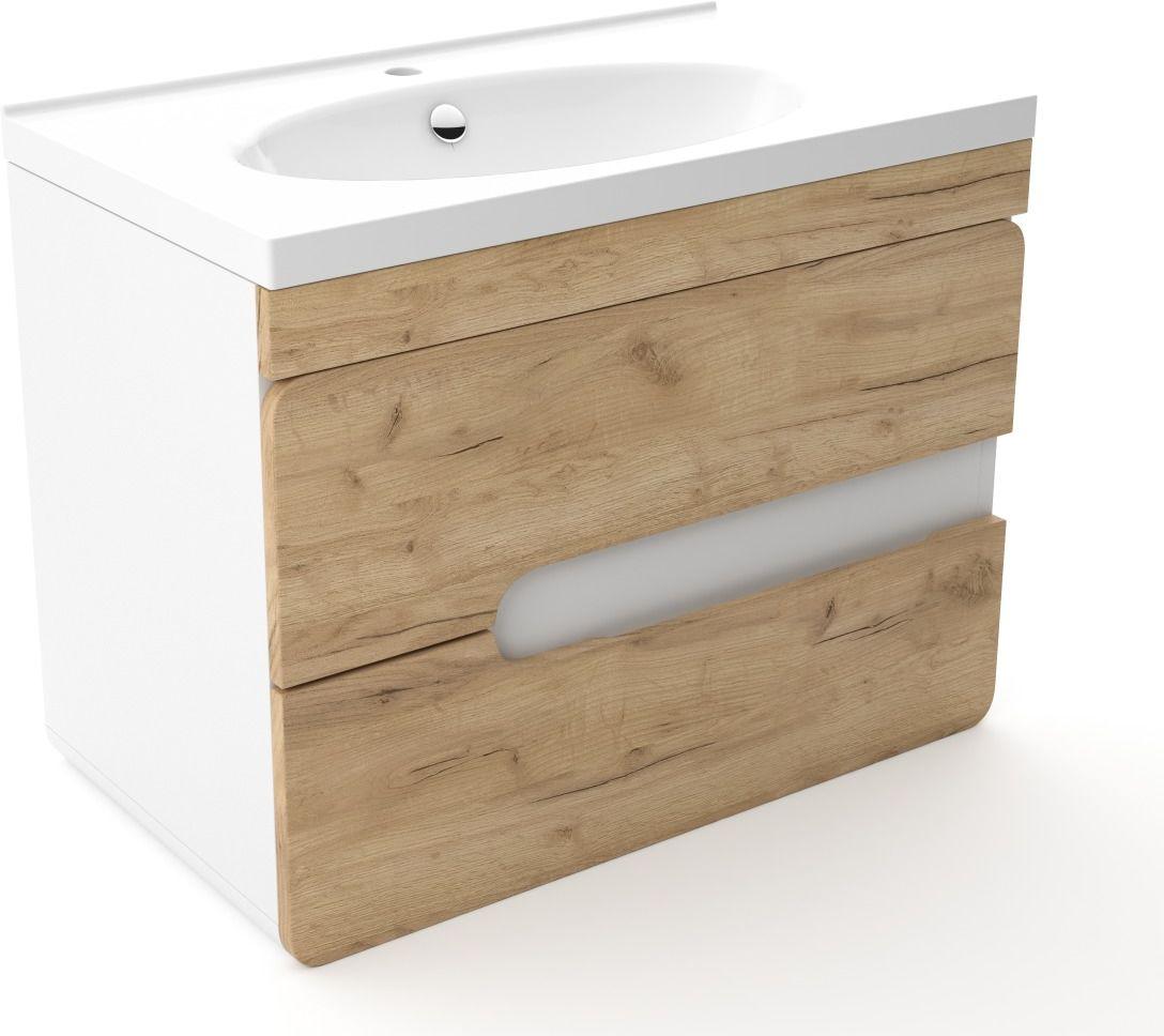 Szafka pod umywalkę LOFT 80 dąb/biały mat  Kupuj w Sprawdzonych sklepach