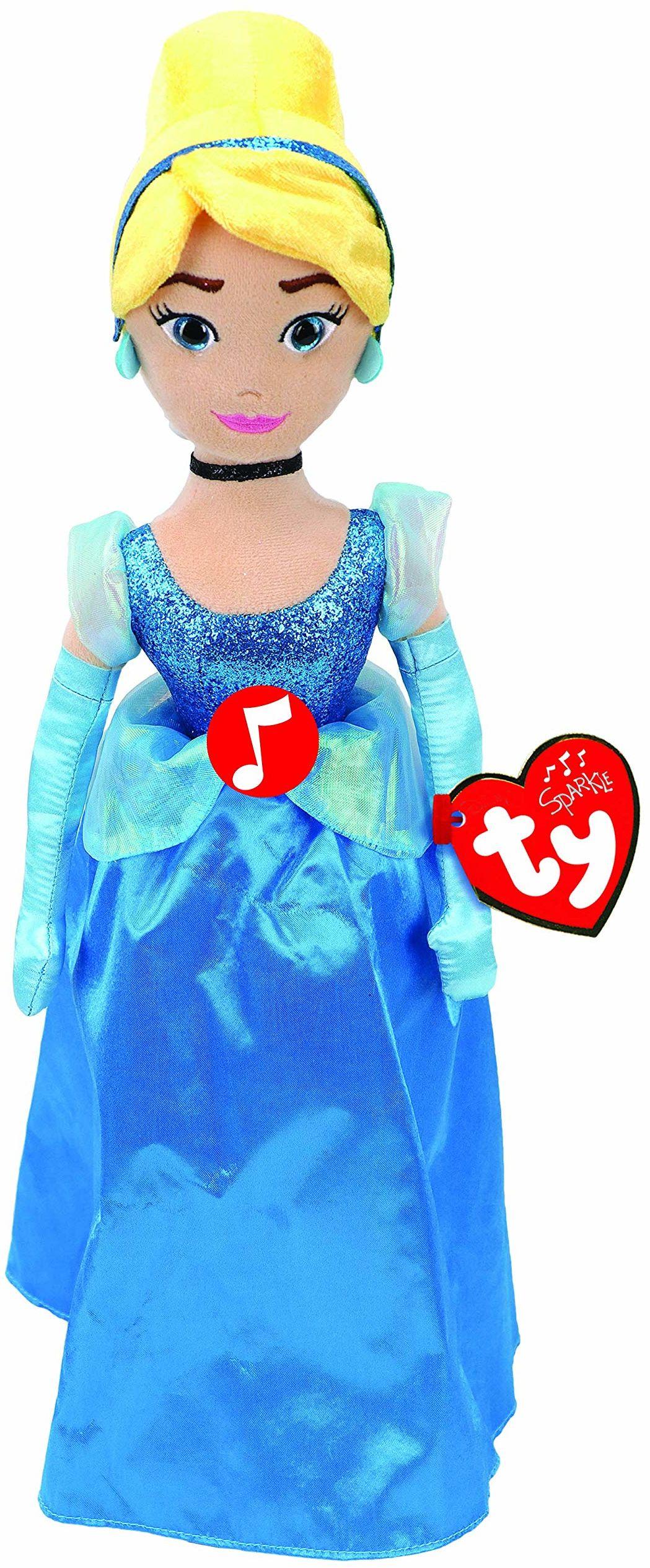 TY T02412 Disney Księżniczka Cinderella pluszowe zwierzątko z gliną, niebieskie