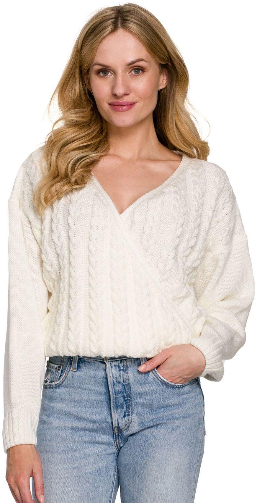 K105 Sweter krótki na zakładkę - ecru