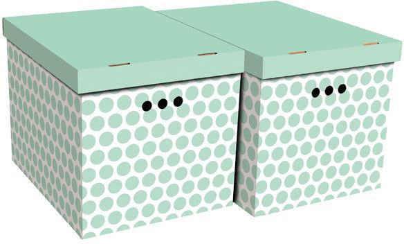 Pudło dekoracyjne XL kropki zielone 2 szt.