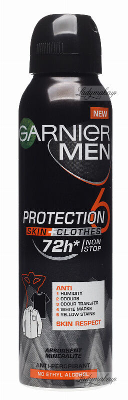 GARNIER - MEN PROTECTION SKIN + CLOTHES 72H ANTI-PERSPIRANT - Antyperspirant w spray''u dla mężczyzn - 150 ml