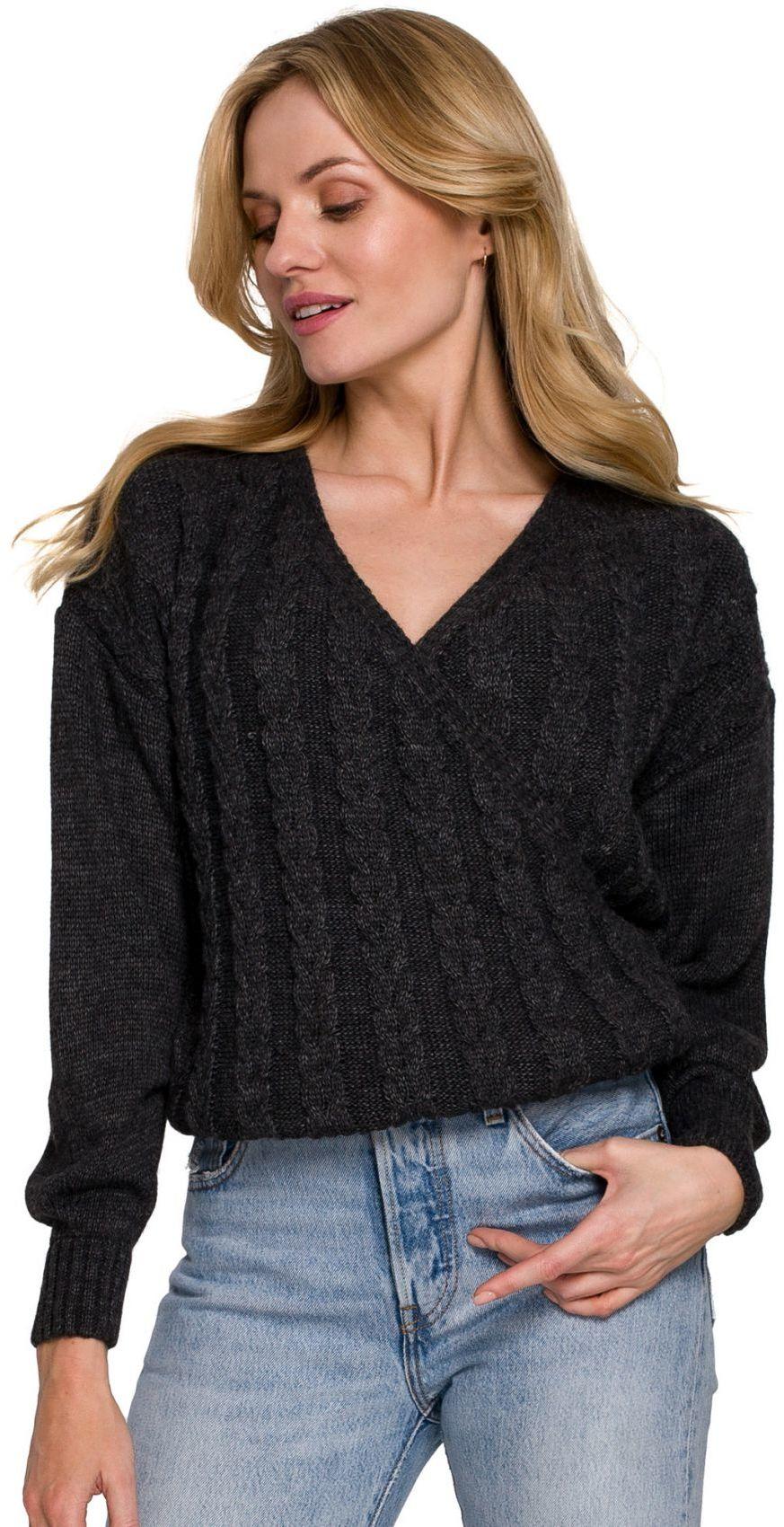 K105 Sweter krótki na zakładkę - grafit