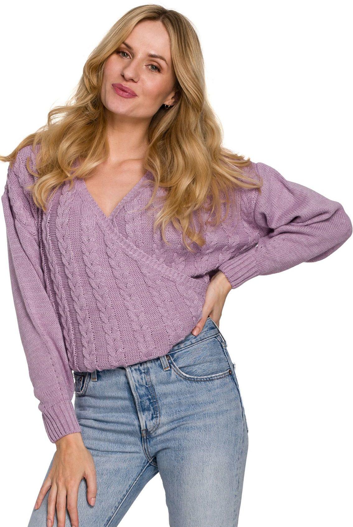 K105 Sweter krótki na zakładkę - liliowy