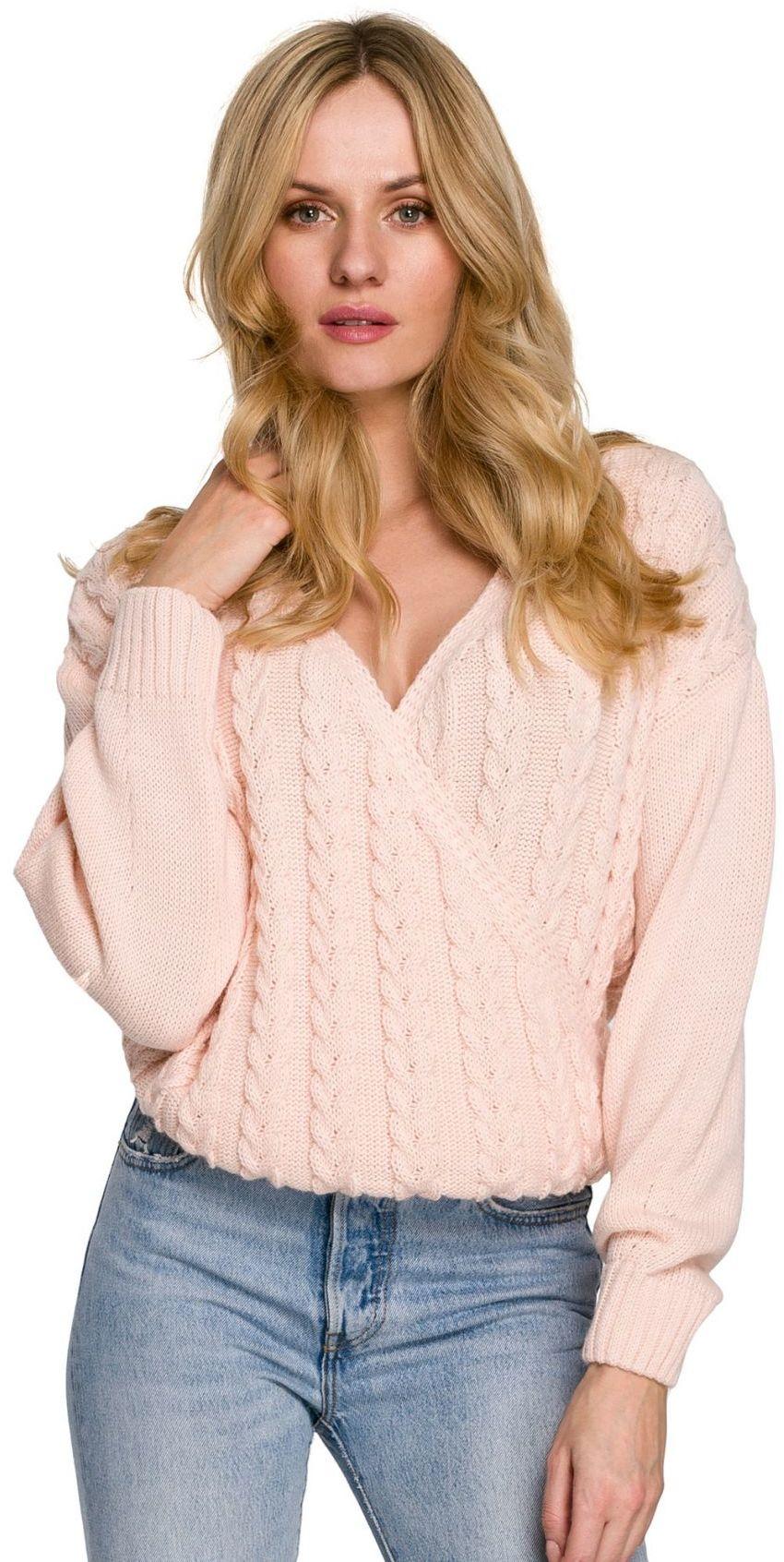 K105 Sweter krótki na zakładkę - peach