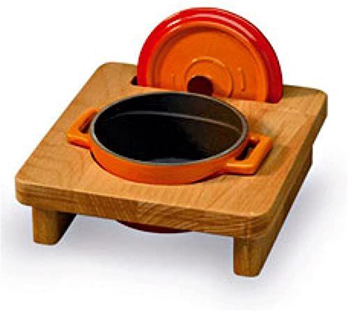 Pentole Agnelli Linea żeliwny coghsws10000 stojak z drewna do mini rondla, okrągły