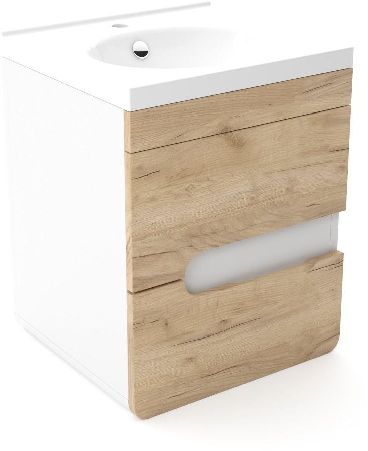 Szafka pod umywalkę LOFT 50 dąb/biały mat  Kupuj w Sprawdzonych sklepach