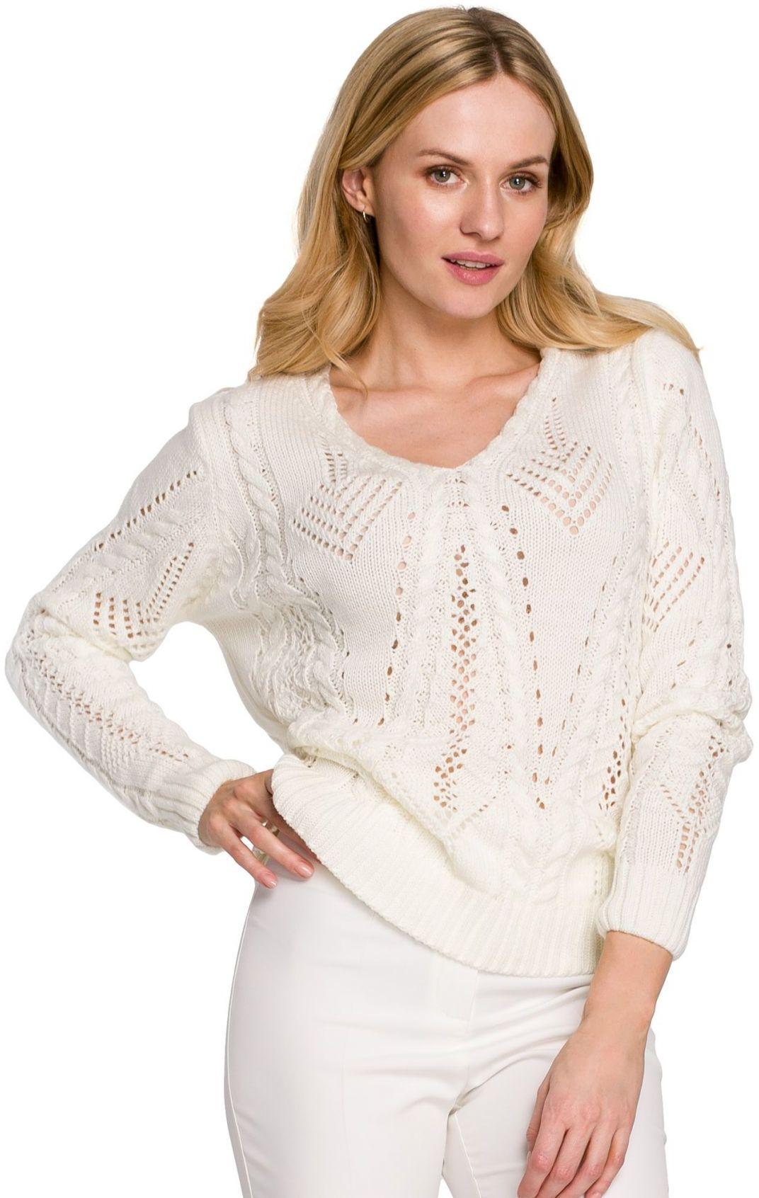 K106 Sweter krótki ażurowy - ecru