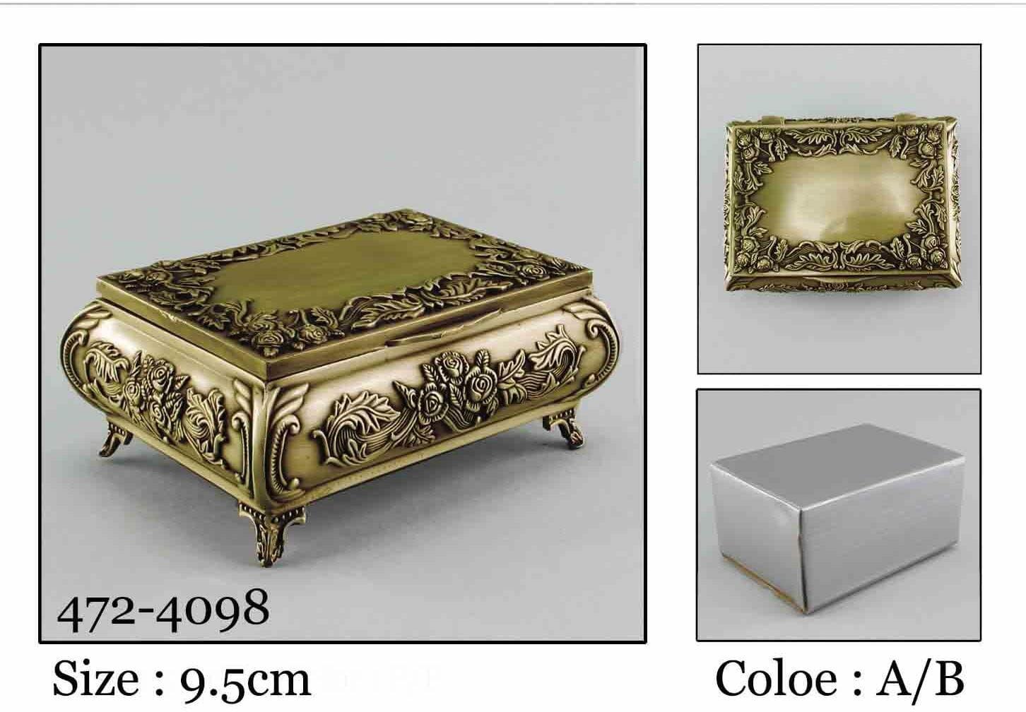 Kasetka, stare złoto, 8,5x6,5 cm