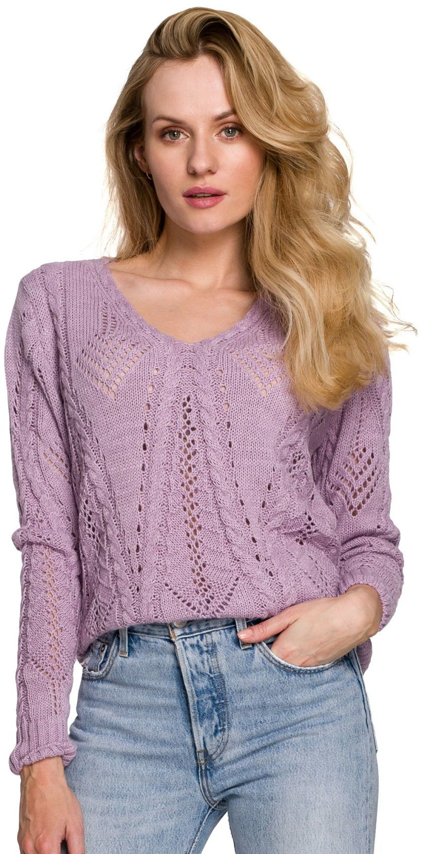 K106 Sweter krótki ażurowy - liliowy