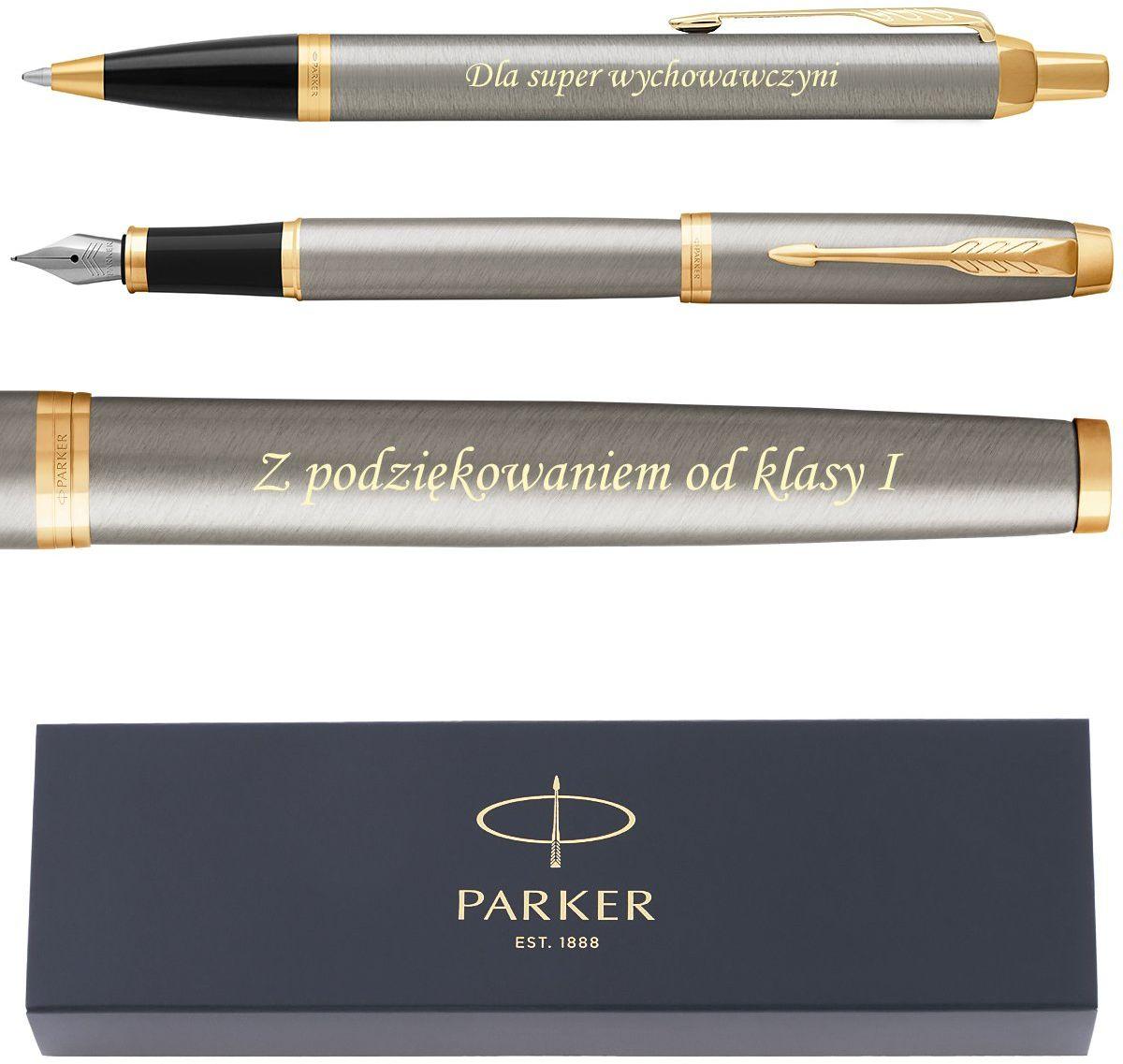 Elegancki Zestaw Parker IM GT Brushed Pióro wieczne i Długopis Grawer