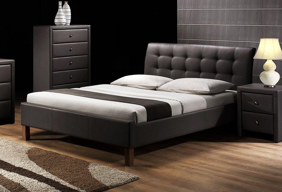Łóżko tapicerowane ROCO 160 czarny ekoskóra