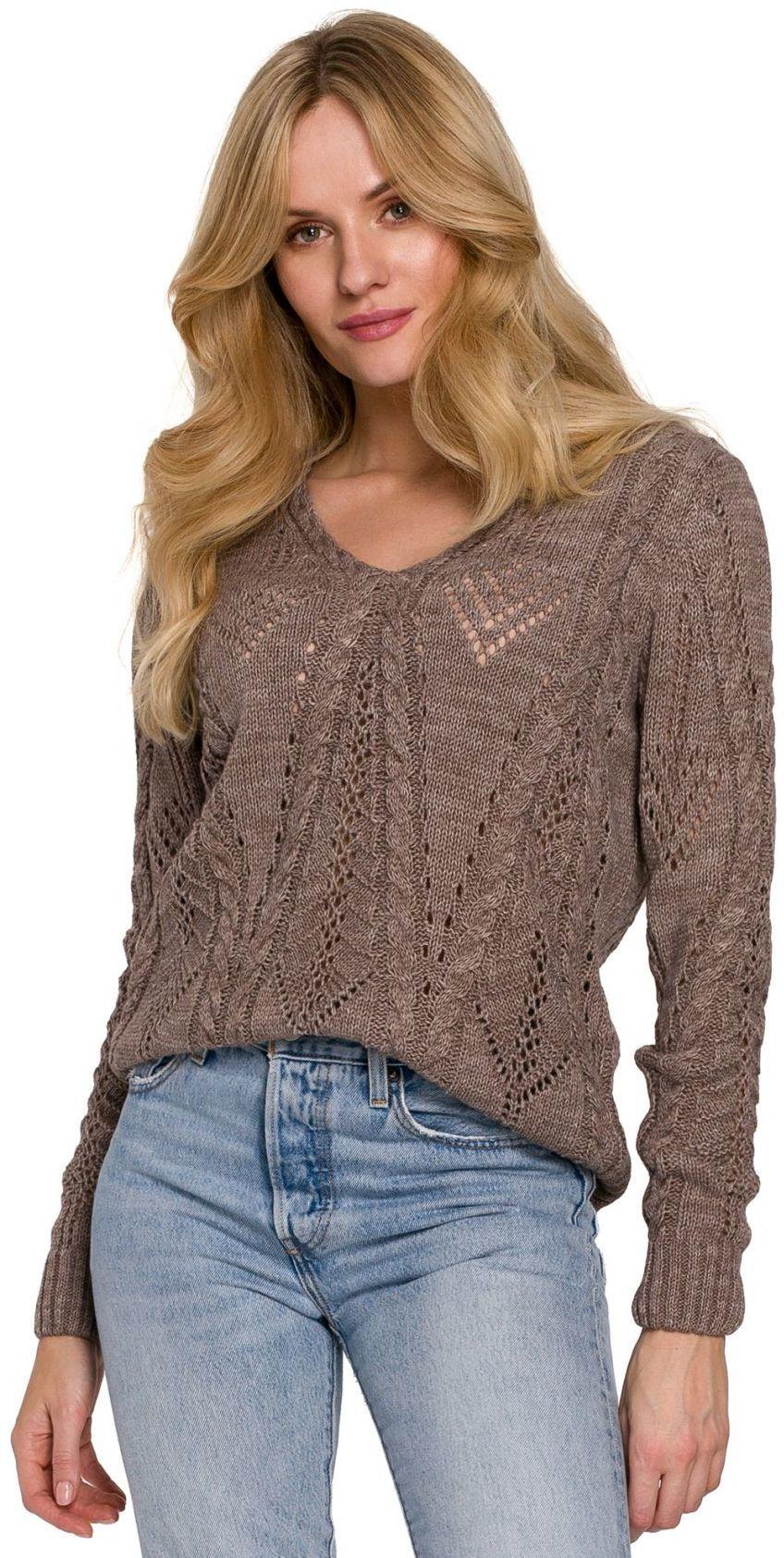 K106 Sweter krótki ażurowy - mocca