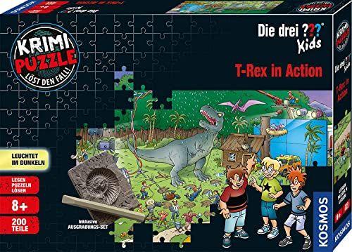 KOSMOS 680657 Krimi Puzzle Die drei ???? Kids  T-Rex in Action, świeci w ciemności, 200 części, w tym zestaw do wykopywania, czytanie  puzzle  rozwiązywanie zagadek, dla dzieci od 8 lat