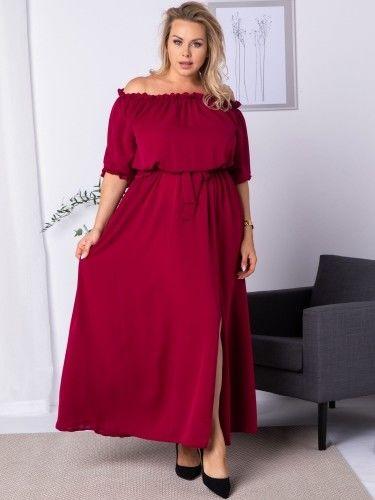 Sukienka hiszpanka długa z rozcięciem ASTRA bordowa