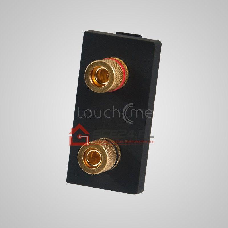 Moduł 1/2, gniazdo podwójne głośnikowe stereo, czarne