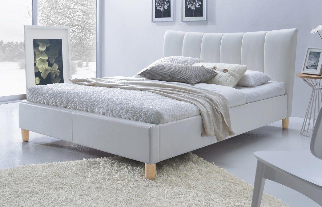 Łóżko tapicerowane PRATO biały ekoskóra