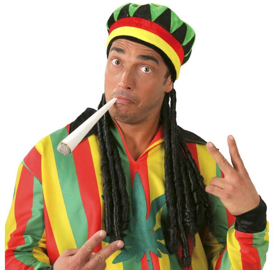 Czapka reggae z dredami - 1 szt.