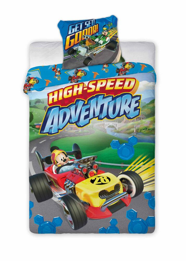 Pościel bawełniana 160x200 Myszka Mickey w wyścigówce 4737