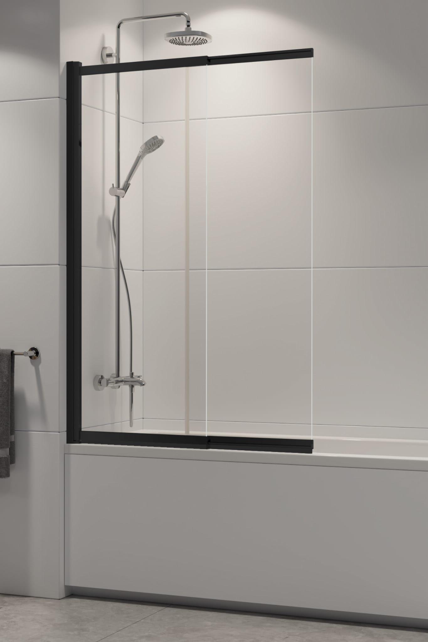 New Trendy parawan nawannowy Sensi Black 85 cm, wys. 150 cm, szkło czyste 5 mm P-0045