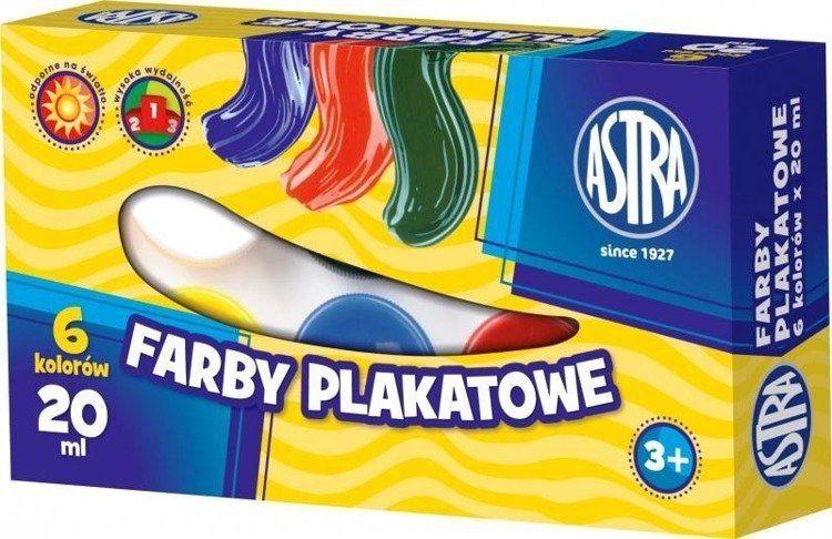 Farby plakatowe 6 kolorów 20ml ASTRA - ASTRA papiernicze