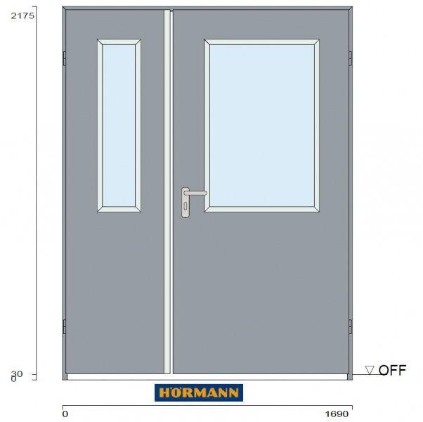Drzwi dwuskrzydłowe ZK 1600x2100 mm, antracyt RAL 7016, przeszklenie bezpieczne ESG, komplet klamek stal nierdzewna, uszczelka, NOWE