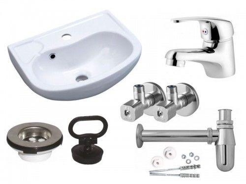 Zestaw: Umywalka 45 x 35cm biała, Bateria umywalkowa chrom, Zawór kątowy, Półsyfon chrom, Sitko umywalkowe, Komplet śrub