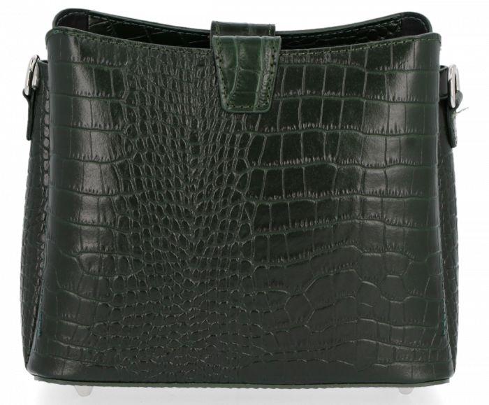 Eleganckie Torebki Skórzane Listonoszki firmy Vittoria Gotti w motyw aligatora Butelkowa Zieleń (kolory)