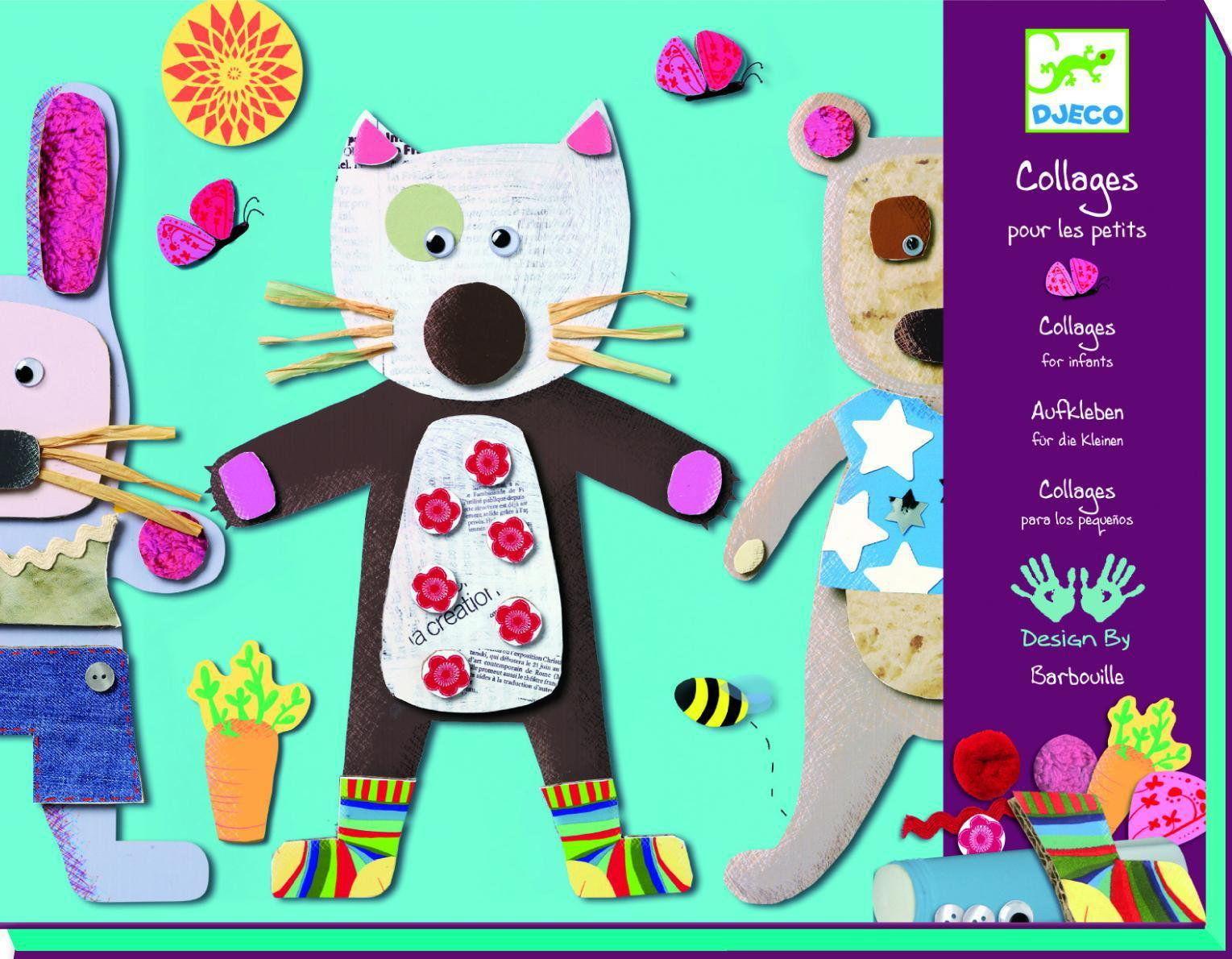 Djeco - Zestaw Artystyczny Kolaże dla Najmłodszych Zwierzątka Dj08664