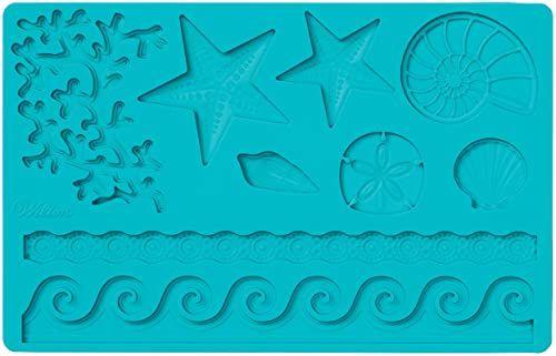 Wilton silikonowa forma do masy cukrowej i gum Mold Sea Life, niebieska, 12 x 25 x 0,5 cm