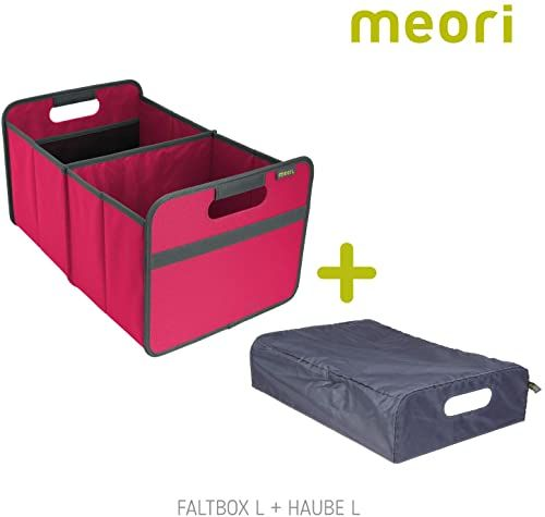 Składane pudełko Classic Large Berry Pink/Uni + pokrywa 32 x 50 x 27,5 cm zmywalne, stabilne, poliester, na plażę, do lasu, wędrówek, na piknik, wakacje, podróż