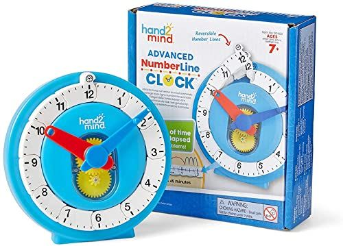 hand2mind 93409 Advanced NUMBERLINE zegar, wielobarwny