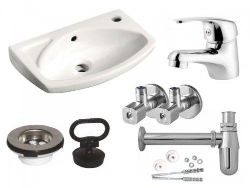 Zestaw: Umywalka 45 x 28cm biała, Bateria umywalkowa chrom, Zawór kątowy, Półsyfon chrom, Sitko umywalkowe, Komplet śrub