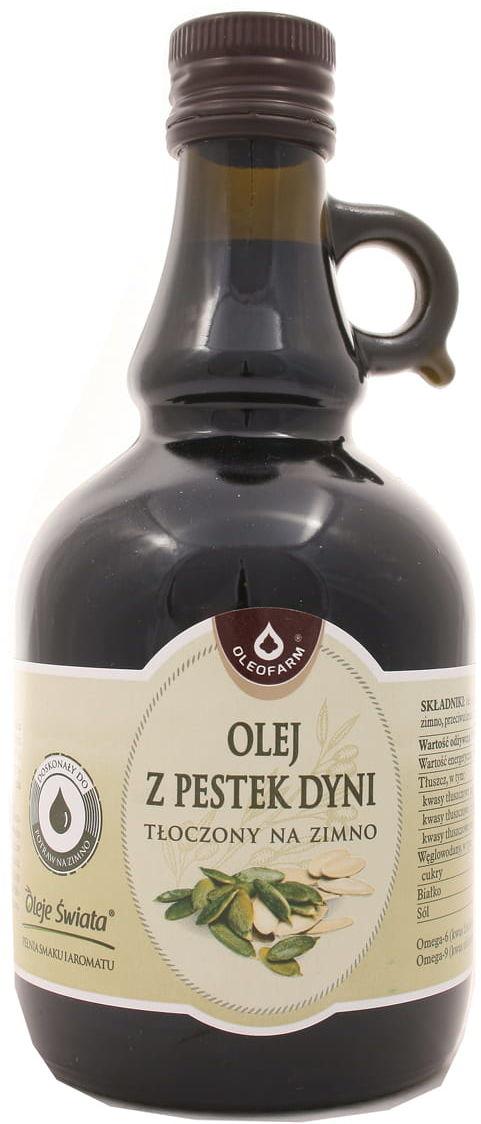 Olej z pestek dyni tłoczony na zimno - Oleofarm - 500ml