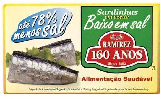 Sardynki portugalskie w oliwie o obniżonej zawartości soli Ramirez 125g