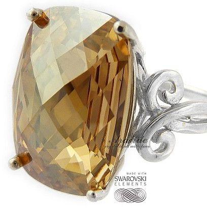 SWAROVSKI SPECIAL pierścionek GOLDEN SREBRO