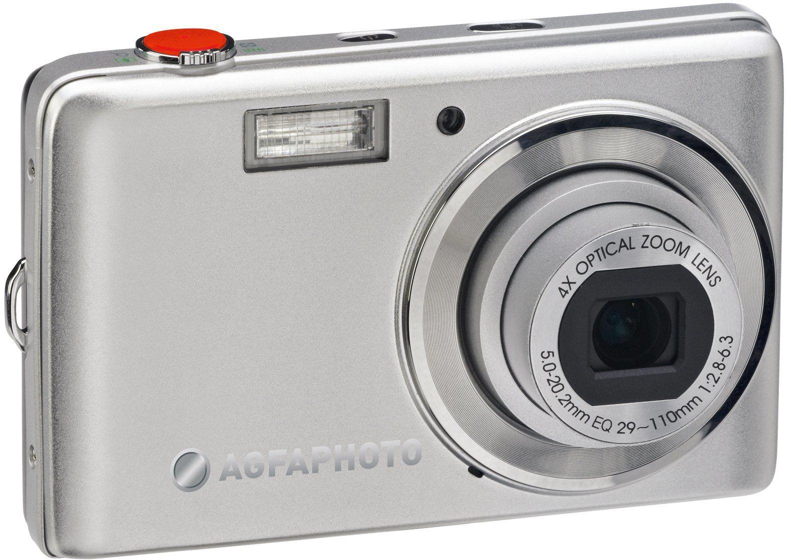 AgfaPhoto Optima 104 aparat cyfrowy (12 megapikseli, 4-krotny zoom, wyświetlacz 3 calowy), srebrny