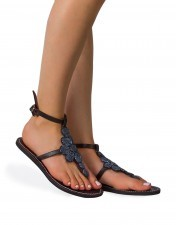Eleganckie sandały skórzane Silver Flowers
