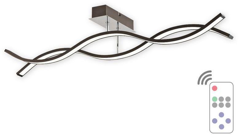 Linea LED plafon długi 2 pł. / rdza wenge + chrom / pilot