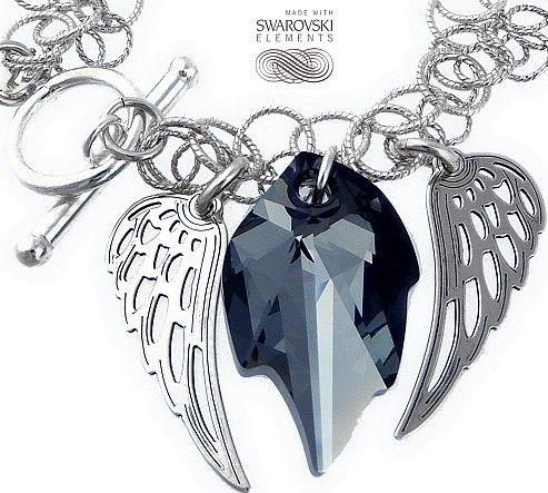 Unikat bransoletka Swarovski Crystals Night Angel Wing Srebro