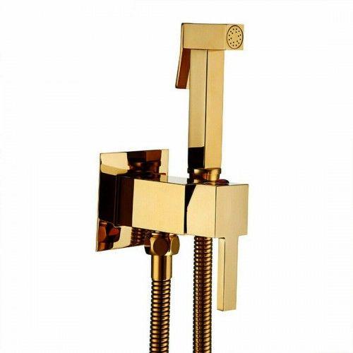 Bateria bidetowa ze słuchawką natryskową i uchwytem, złota bidetka