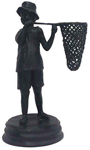 Better & Best 1490002  figurka, mosiądz, dziecko z rybami, podbierak, czarny