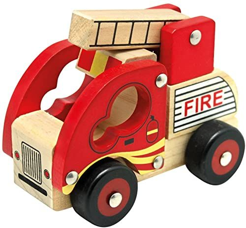 BINO 84080 drewniany strażak samochodowy, wielokolorowy