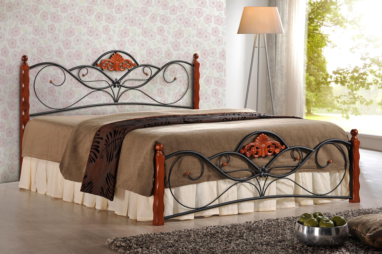 Łóżko MIAMI 160 czarny-czereśnia antyczna