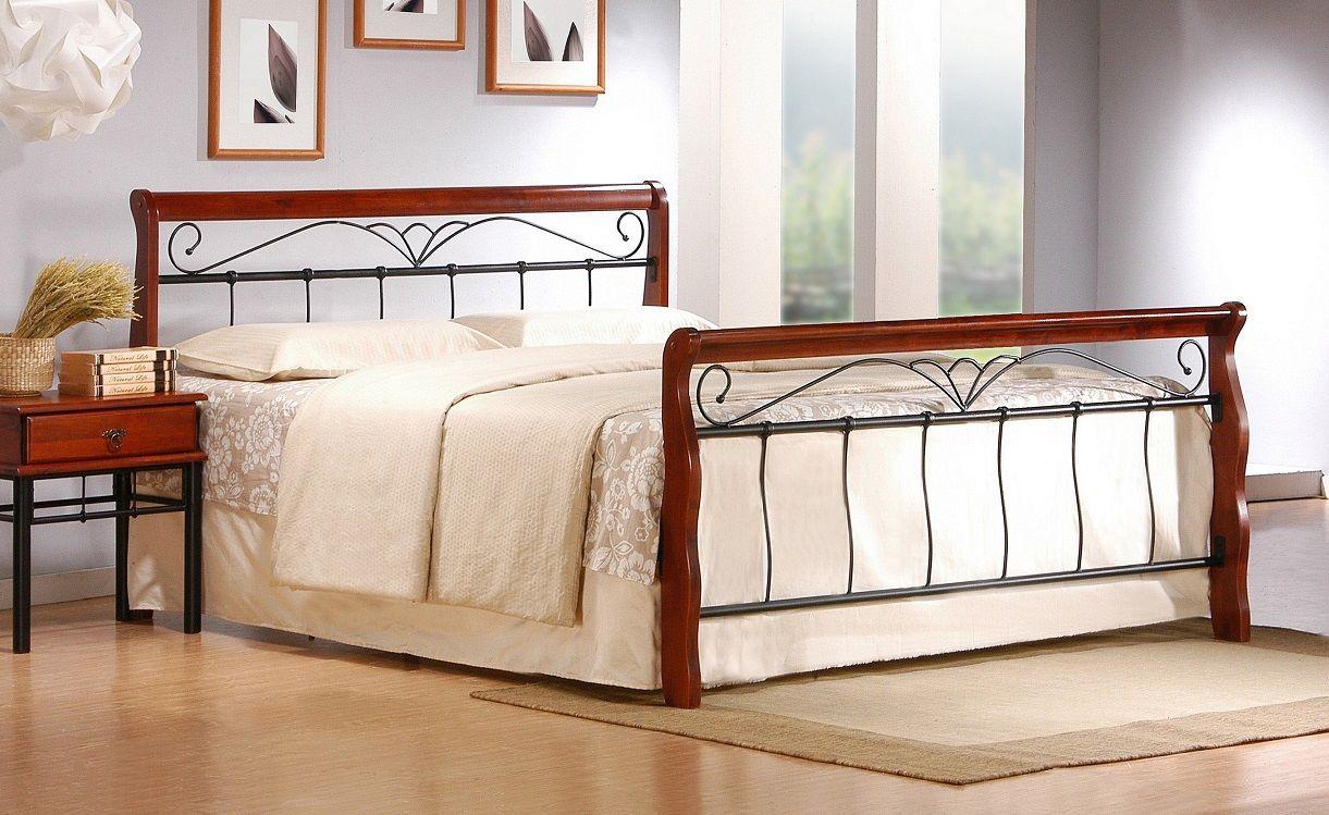 Łóżko ANASTASIA 160 czarny-czereśnia