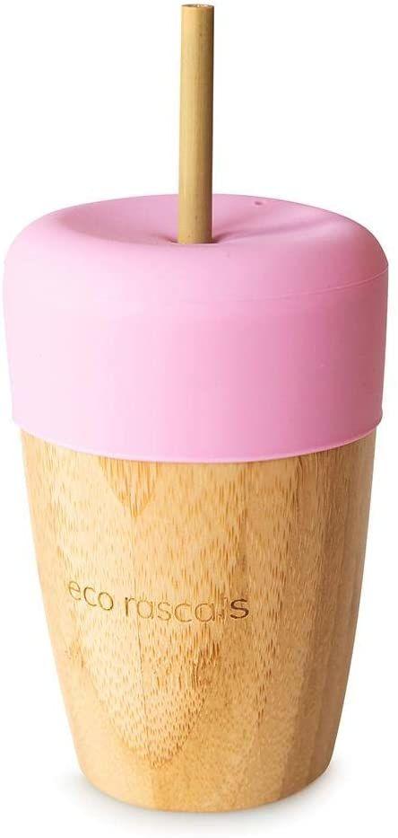 RASCALS bambusowy kubek ekologiczny 240 ml pokrywka 2 słomki, dziewczęta, różowa, jeden rozmiar