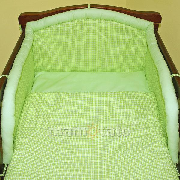 MAMO-TATO pościel 2-el Krateczka zielona do łóżeczka 70x140cm