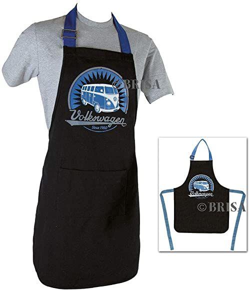 BRISA Fartuch kucharski, czarny/niebieski, rozmiar uniwersalny