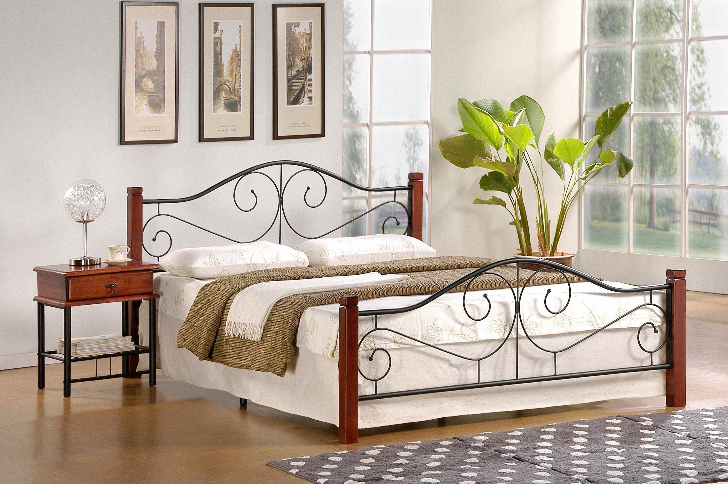 Łóżko LEMI 120 czarny-czereśnia antyczna